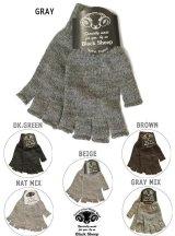 【BLACK SHEEP】 フィンガーレスニットグローブ#4 手袋  6カラー