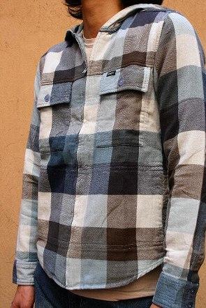 RVCA ルカ Dash ブロックチェックフードシャツ