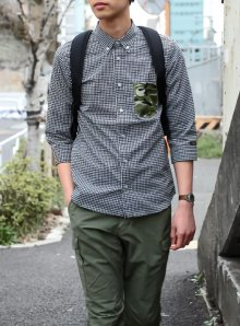 他の写真1: 【narifuri】 ナリフリ Seersucker gingham 3/4 sleeve shirt (NF929)