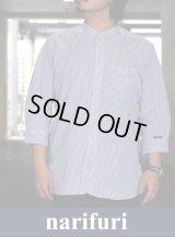 【narifuri】 ナリフリ Band collar Three-quarter sleeve shirtバンドカラー七分袖シャツ(NF4007)